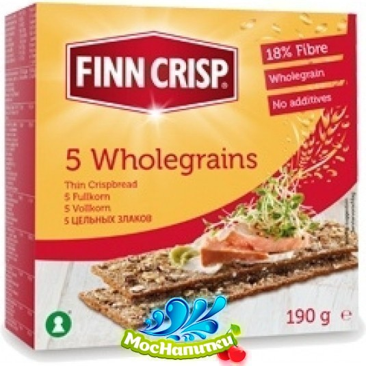 Сухарики FINN CRISP 5 Wholegrain (5 цельных злаков) 190г